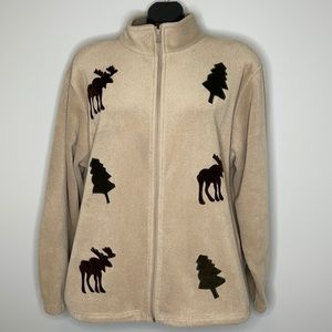 Vintage Northern Reflections tan fleece moose and trees zippered jacket L